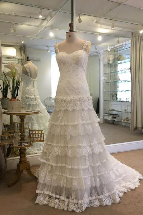 Cheap wedding dresses 2017,Spaghetti Straps Layered Lace Beach Bridal Dresses,A Line Bridal Dress for Beach,Cute White Wedding Dresses Lace