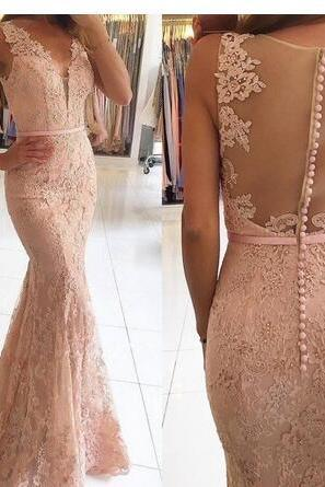 Cheap prom dresses 2017,Long Mermaid Evening Dresses V Neck with Beaded Lace Evening Gowns Sexy Illusion Back Sheath Prom Dresses