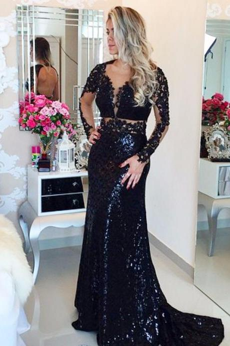 Cheap prom dresses 2017,Top Sparkling Beaded Sexy Prom Dreses Women Long Sleeves Fitted Lace Black Mermaid Prom Dress 2017 Custom Evening Dress Floor Length Sequins Formal Party Gowns