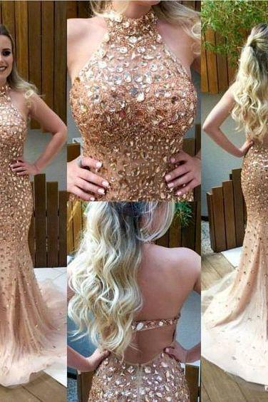 Cheap prom dresses 2017,Sexy Back Prom Dress, Crystals Beaded Prom Dress,Fashion Prom Dress,Sexy Party Dress,Custom Made Evening Dress