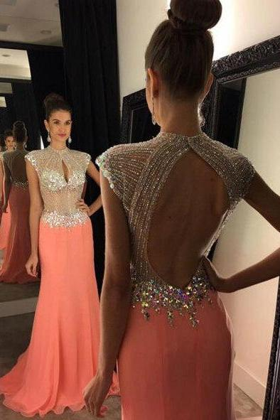 Cheap prom dresses 2017,Beaded Bodice Orange Red Chiffon Prom Dresses,Backless Long Formal Dresses,Cap Sleeve Evening Dresses