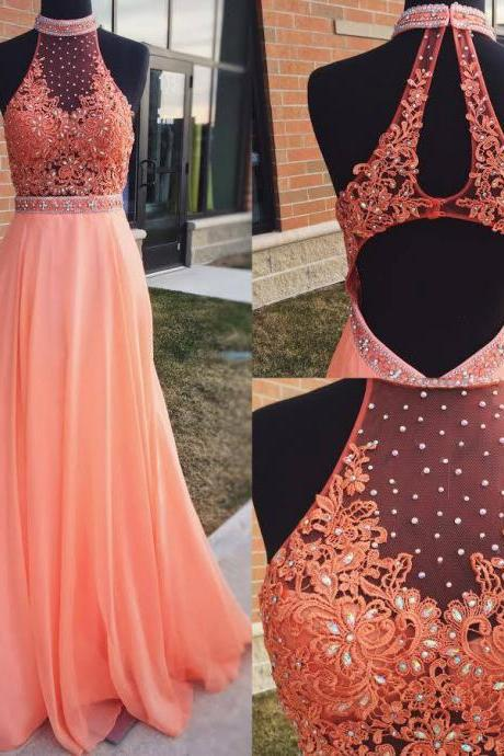 Cheap prom dresses 2017,Orange Chiffon with Lace Appliqued Prom Dresses,Halter Long Formal Dresses,Open Back Pageant Dresses
