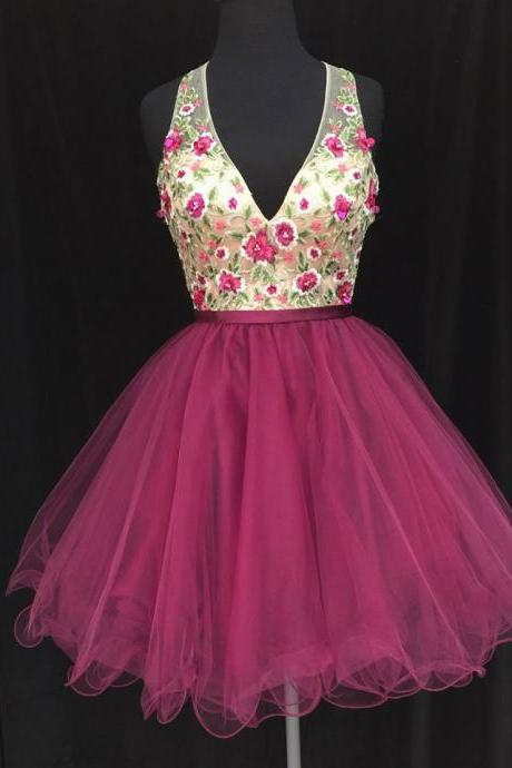 Cheap homecoming dresses 2017,2017 A-Line Princess V-neck Sleeveless Appliqued Homecoming Dresses