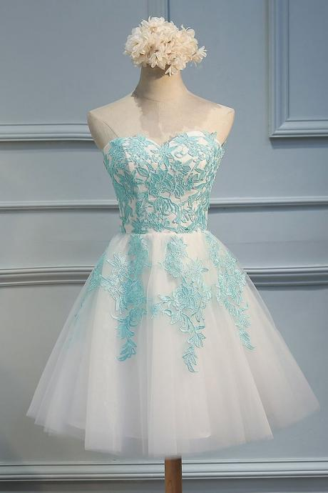 Cheap homecoming dresses 2017,Lace Homecoming Dresses,Sweetheart green lace applique tulle short prom dress,cute homecoming dress