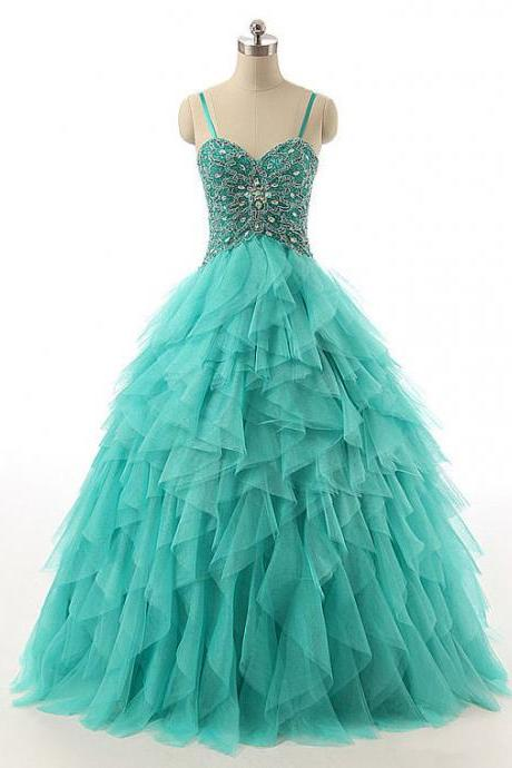 Cheap prom dresses 2017,Spaghetti Straps Lace-up Beaded Long Prom Dress, Crystal Turquoise Ball Gown Prom Dress, Cascading Ruffles Tulle Prom Dress