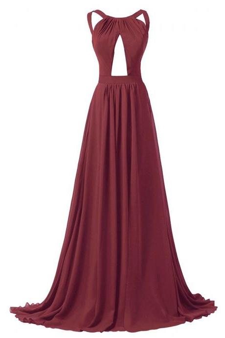 Burgundy Chiffon Halter Straps Cutout Front Floor Length A-Line Formal Dress Featuring Criss-Cross Open Back, Sweep Train, Prom Dress