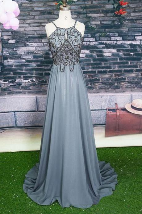 Cheap prom dresses 2017,Halter Grey Beaded Prom Dress,Long Beading Prom Dresses