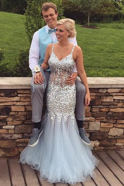 Cheap prom dresses 2017,Spaghetti Straps Spark Prom Dress,Long Grey Prom Dresses