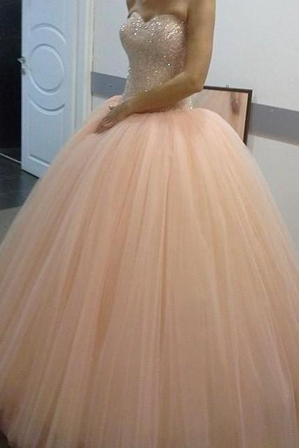 Cheap prom dresses 2017,New Arrival Prom Dress,Modest Prom Dress,pink tulle Sparkly Crystal Beaded Sweetheart Peach Prom Dress