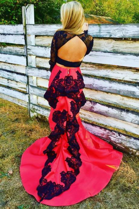 Cheap prom dresses 2017,open back prom dress,two piece prom dresses,satin prom dress,2 piece prom dress,mermaid prom dress 2017,long sleeves evening gowns,elegant formal dress
