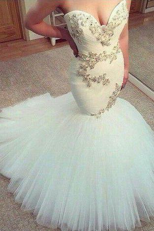 Cheap wedding dresses 2017,White Wedding Dress,mermaid long Wedding dress,sweetheart wedding dress,Tullr Bridal Dresses