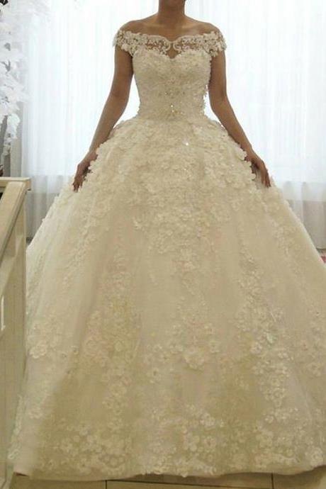 Cheap wedding dresses 2017,Ivory Wedding Dress, Princess Wedding Dress, Lace Wedding Dress, Cap Sleeve Wedding Dress, Luxury Wedding Dress, 3D Flowers Wedding Dress, Gorgeous Wedding Dress, 2017 New Arrival Bridal Ball Gowns