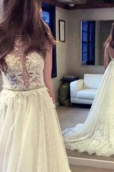 Cheap wedding dresses 2017,A-line Bateau Backless Sequined Wedding Dress with Pearls Appliques