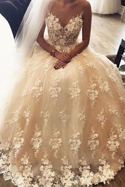 Cheap wedding dresses 2017,Sleeveless Light Champagne Wedding Dress with 3D Floral Lace