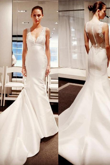 Sleeveless Plunging V Lace Appliqués Mermaid Wedding Dress Featuring Sheer Back and Long Train