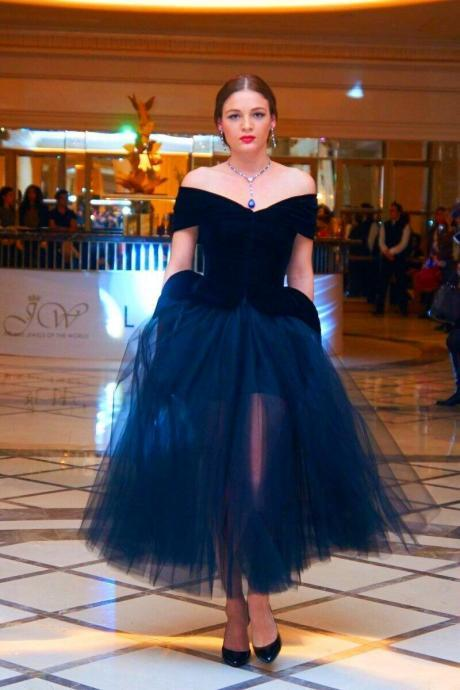 Cheap prom dresses 2017,Elegant Arabic Navy Blue Prom Dresses Off The Shoulder Adult Tutu Dress Tea Length Plus Size Women Formal Occasion Party Evening Gowns