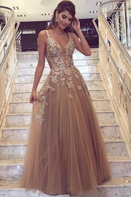Cheap prom dresses 2017,Cheap prom dresses 2017,Champagne Prom Dress, Handmade Flowers Prom Dress, Deep V Neck Prom Dress, A Line Prom Dress, Tulle Prom Dress, Prom Dresses 2017, Vestido De Festa De Longo, Elegant Prom Dress, Sexy Formal Dresses