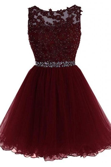 Burgundy Short Tulle Beading Homecoming Dress Prom Gown