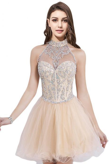 Short Beading Halter A-line Homecoming Dress