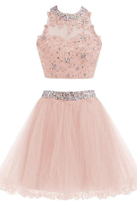 Two Piece Lace Prom Dresses Short Beading Homecoming Ball Gown