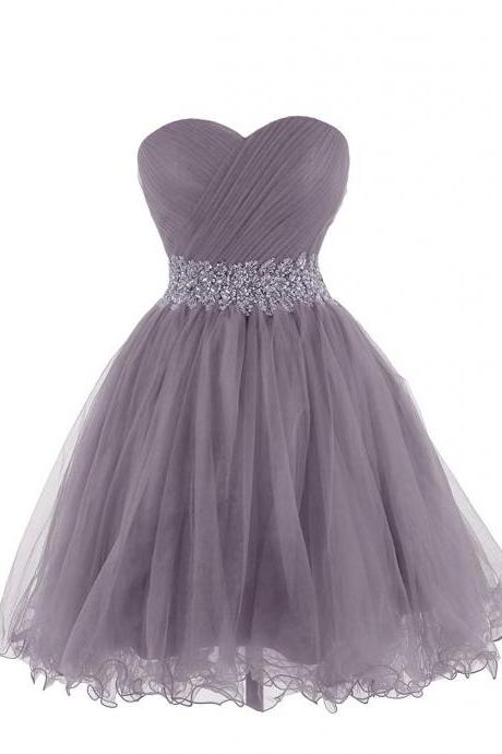 Ruched Sweetheart Short Tulle Homecoming Dress Featuring Beaded Adorned Belt and Lace-Up Back, Formal Dress