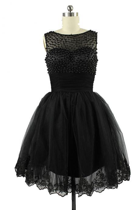 Custom Made Black Sleeveless Beaded Tulle Short Cocktail Dress with Lace Hem, Graduation Dress, Evening Dress, Homecoming Dress