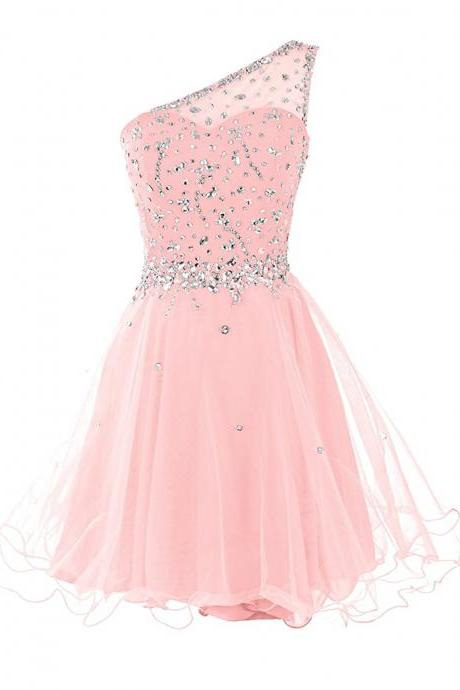 Short One Shoulder Prom Dresses Tulle Homecoming Dress with Beads