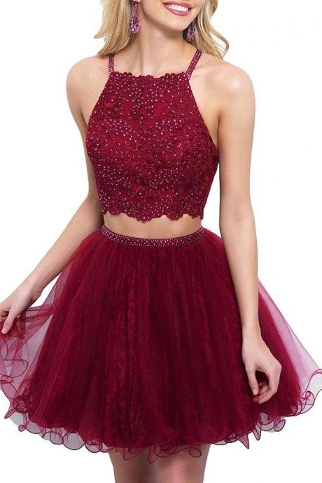 Two Piece Homecoming Dresses,Two Pieces 2017 Elegant Lace Appliques Mini Prom Gowns for Junoirs
