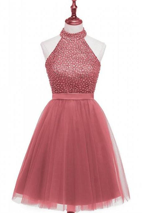 Beaded Embellished High Halter Neck Short Tulle Homecoming Dress Featuring Keyhole Back
