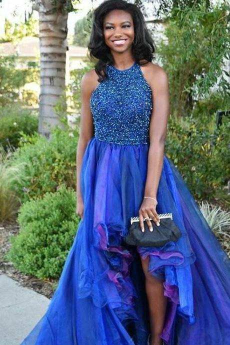 Cheap prom dresses 2017,Royal Blue Tulle Prom Dresses Crew Neck Sleeveless Beading Crystals Evening Dresses Formal Gowns Vestidos