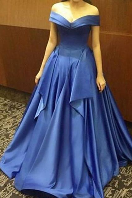 Cheap prom dresses 2017,Off Shoulder A-line Satin Prom Dresses Floor Length Women Party Dresses