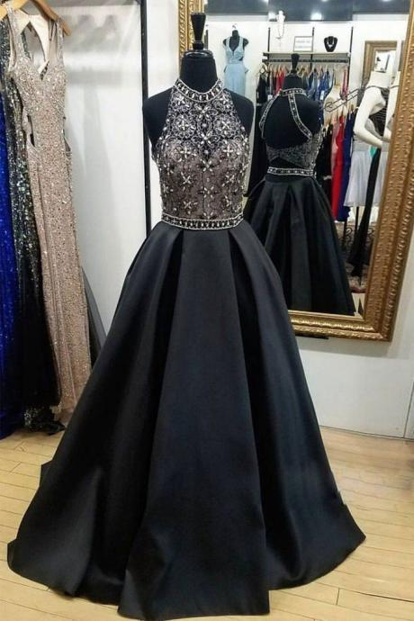 Cheap prom dresses 2017,Black High Neck Lace Beads Long Prom Dress