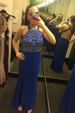 Cheap prom dresses 2017,Charming Prom Dress,Sexy Halter Prom Dress, Backless Blue Chiffon Evening Dress, Beaded Prom Dresses