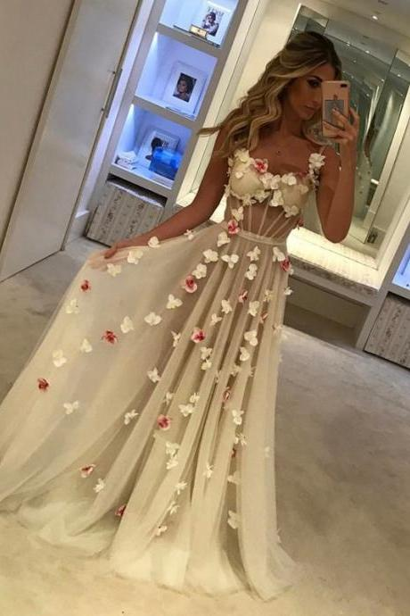Cheap prom dresses 2017,Flower Prom Dress,Long Evening Gowns,See Through Prom Dress,Sexy Long Formal Dress