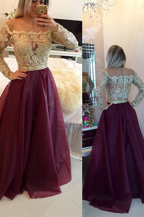Cheap prom dresses 2017,A-line Scoop Long Sleeves Burgundy Prom/Evening Dress