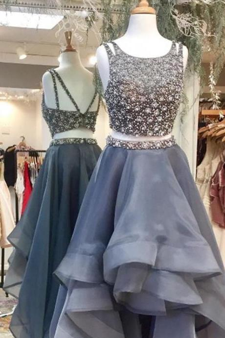 Cheap prom dresses 2017,Chic Two Piece Scoop Sleeveless High Low Prom Dress Backless with Beading