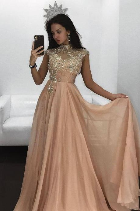 bcfa971fcd5e Cheap prom dresses 2017,Long Prom Evening Dress 2017 abendkleider Beading  Cap Sleeves High Neck