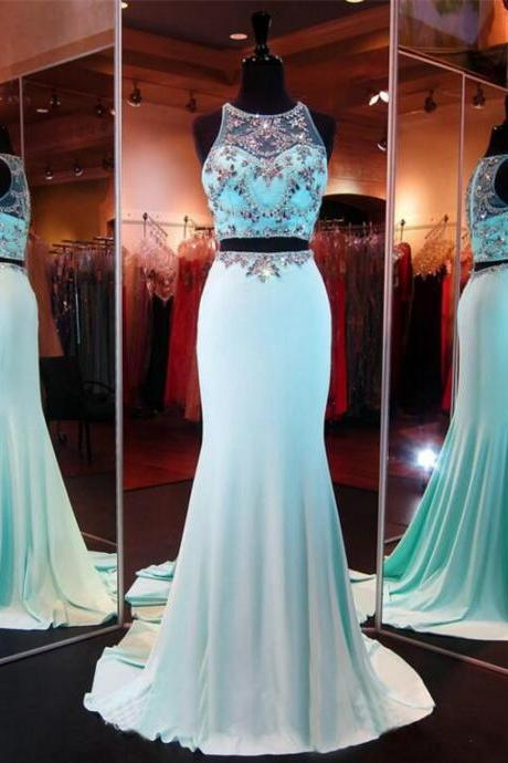 Cheap prom dresses 2017,2 Piece Prom Gown,Two Piece Prom Dresses,Evening Gowns,2 Pieces Party Dresses,Chiffon Evening Gowns,Sparkle Formal Dress,Bling Formal Gowns For Teens