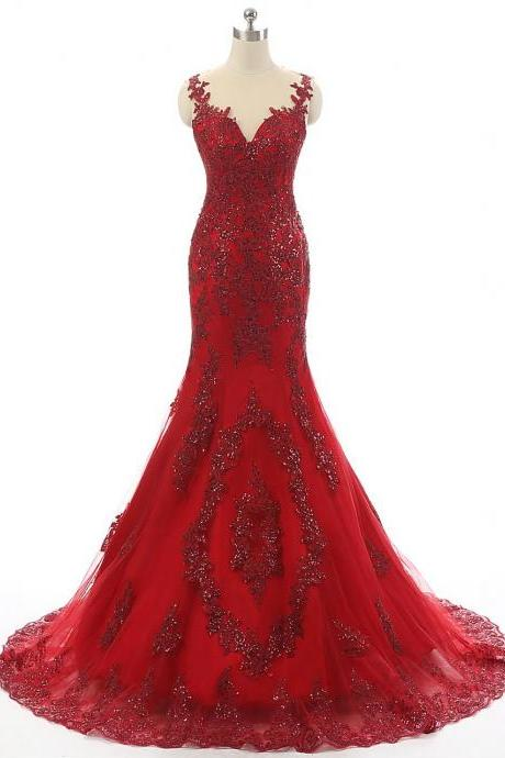 Cheap prom dresses 2017,Spaghetti Strap Mermaid Floor-length Dress with Sweetheart Bodice and Lace Appliqués