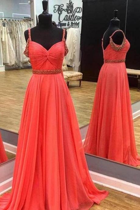 Cheap prom dresses 2017,beaded straps long chiffon coral prom dresses 2017 floor length
