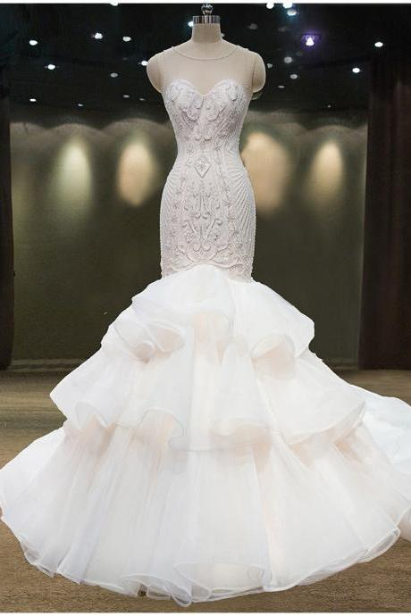 Sheer Sleeveless Beaded Ruffle Mermaid Wedding Dress Featuring Lace-Up Back And Long Train