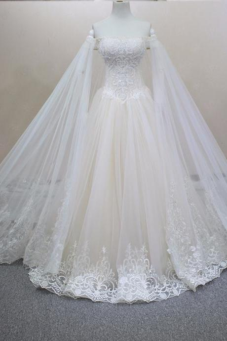 100% Real Photo Handmade Luxury Crystals Beading Detachable Veil Customized Size Champagne Wedding Dress Lace