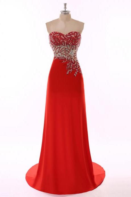 Cheap prom dresses 2017,Robe De Soiree Long Sweetheart Red Long Evening Dress 2017