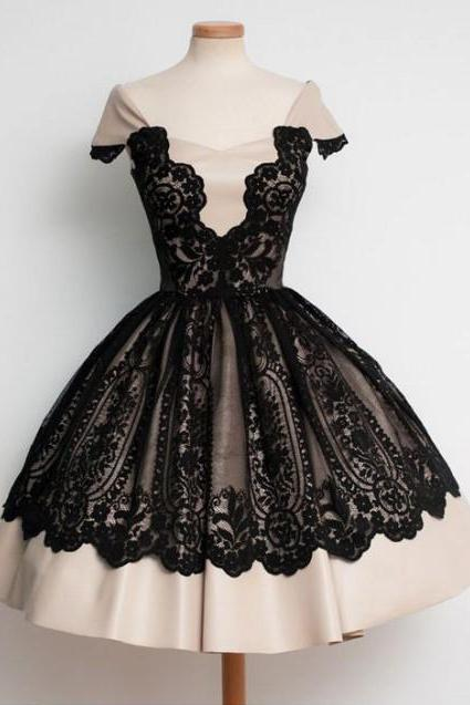 Cheap homecoming dresses 2017,Black lace Homecoming Dress,Cap Sleeves Homecoming Dress,
