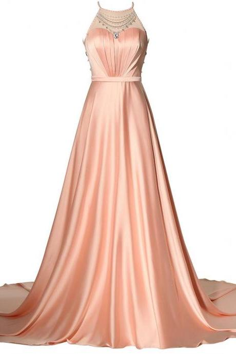 Cheap prom dresses 2017,Women's Elegant Bridesmaid Dress Floor Length Halter Beaded Prom Evening Dress