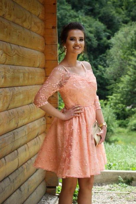 Lace Homecoming Dresses,Coral Lace Short Prom Dresses 2017 V Neck Spaghetti Straps 3/4 Sleeves Elegant A line Evening Party