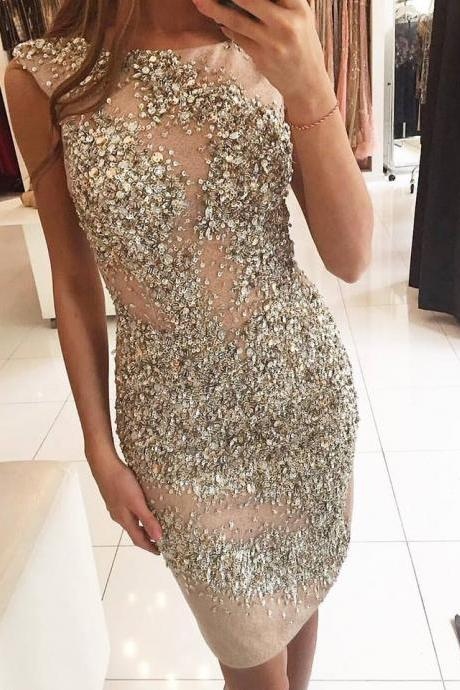 Heavily Beading Cocktail Dresses 2017 Stunning Rhinestones Sequins Illusion