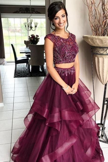 Cheap prom dresses 2017,Robe De Soiree 2017 Luxury 2 Pieces Prom Dresses