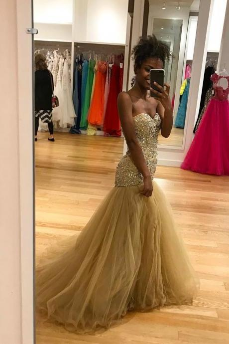 Cheap prom dresses 2017,2017 Champagne Tulle Evening Dresses