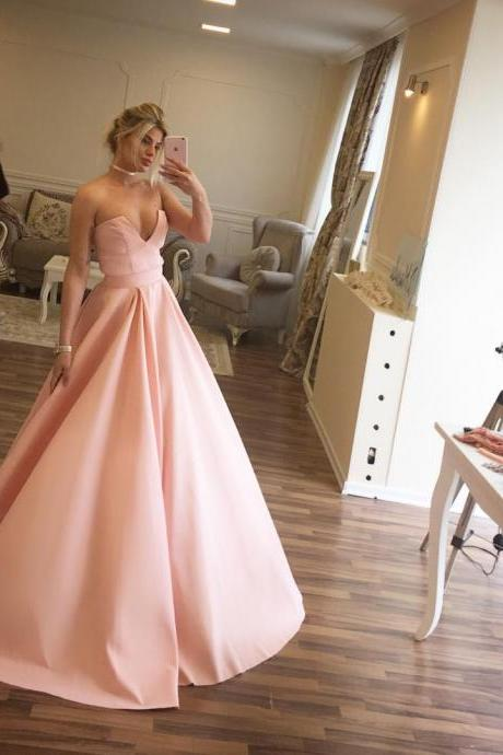 Cheap prom dresses 2017,Simple Pink Satin Evening Dress For Girls 2017 Elegant Long Prom Dresses